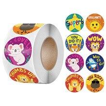 New Animals Sticker for Kids 500pcs/roll Catton Sticker With Encourage Words 1 inch for School Teacher Supplies Reward Sticker