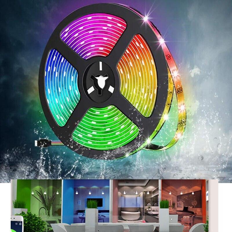 5M 10M Set LED Tape Light RGB LED Strip Kit DC 12V IR Bluetooth Music SYNC Control Multicolors Strip Lighting Waterproof