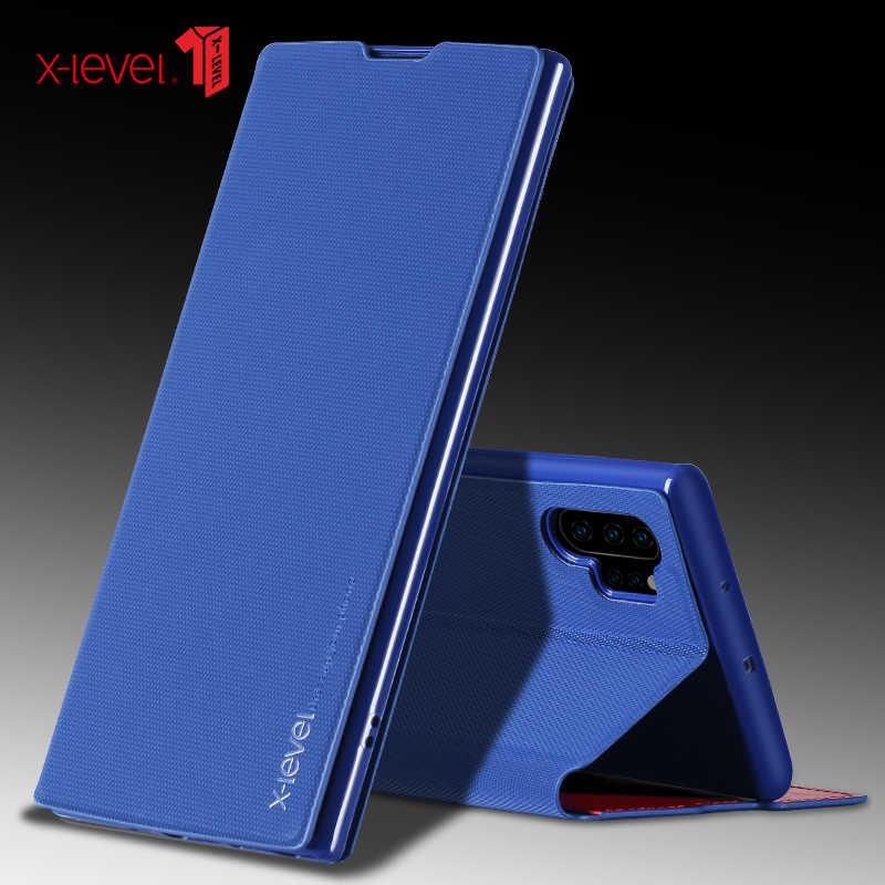 X-Level حامل بطاقة جلدية الوجه اغلفة السامسونج S20 S10 S10E S9 S8 زائد نوت 10 9 8 رقيقة جدا غلاف الكتاب الأعمال