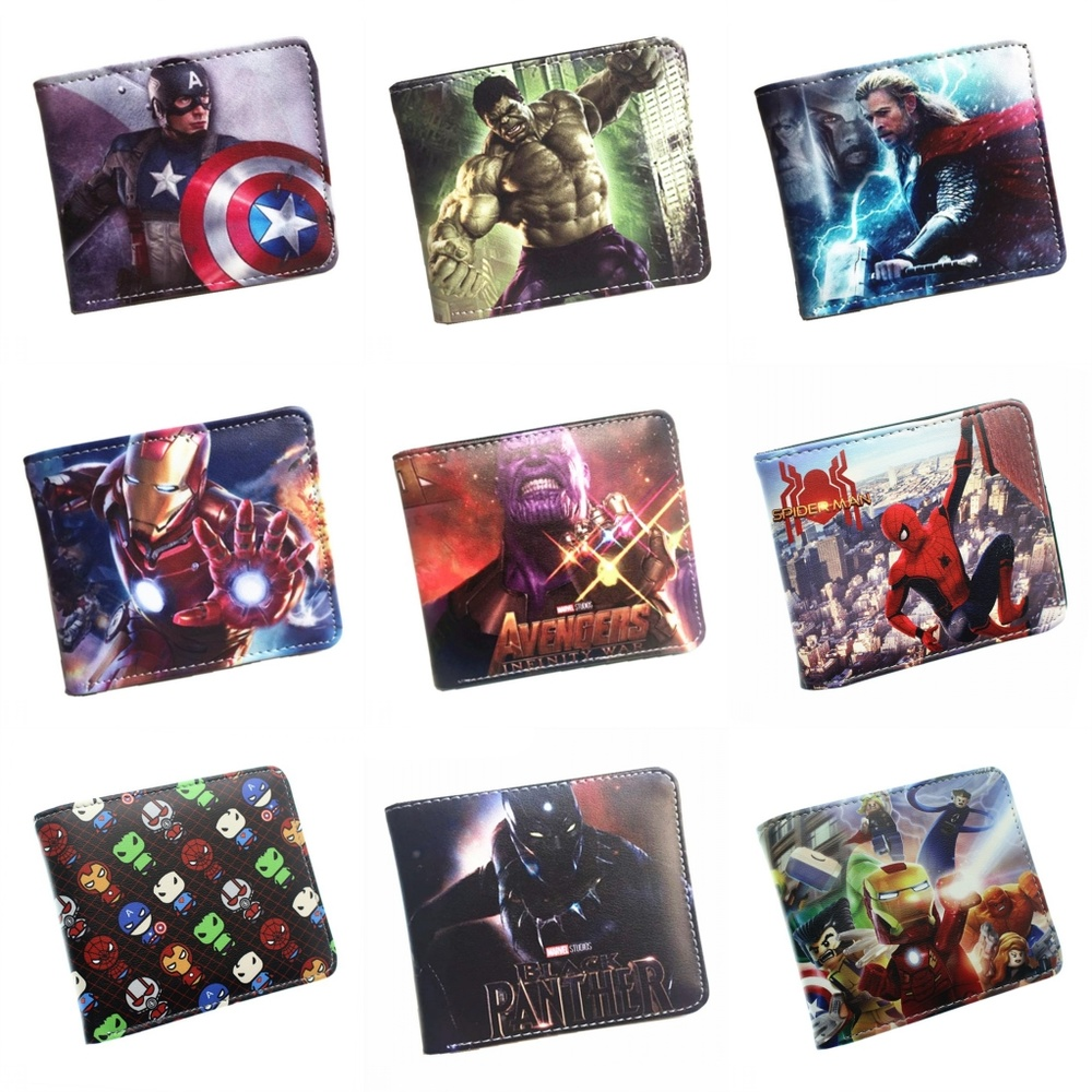 Marvel Superhero Endgame Spider-Man Thanos Iron Man Pu Short Wallet Cartoon Photo Card Holder Layers Leather Boys Girls Purse