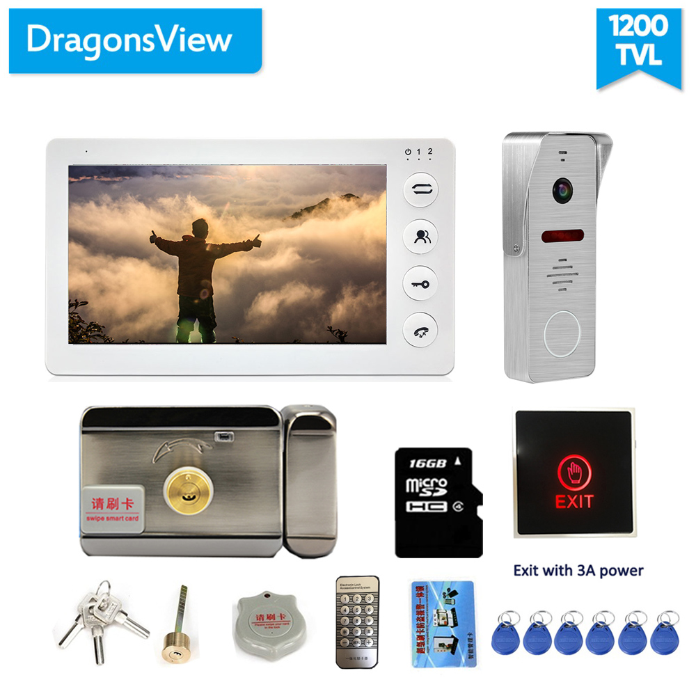 Dragonsview   7 Inch Video Door Phone Intercom System With Electronic Lock Record Motion Wide Angle Doorbell With Camera