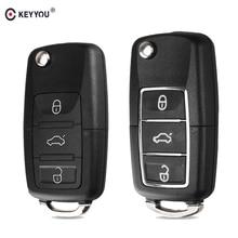 KEYYOU 10X Folding Car Key Shell For Volkswagen Vw Jetta Golf Passat B5 B6 Beetle Polo Bora Caddy MK5 Skoda 3Button Remote Case