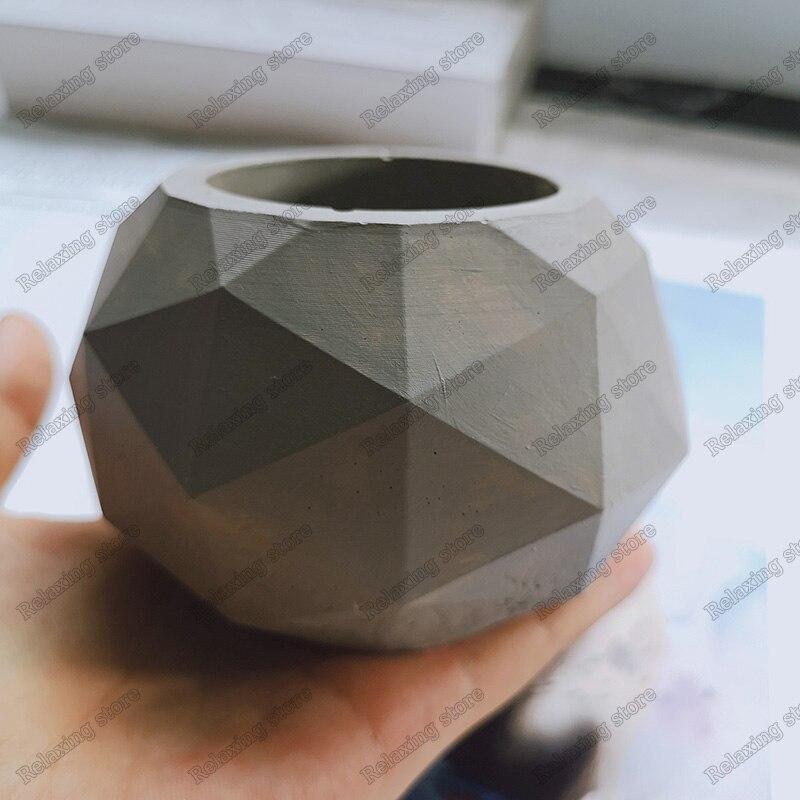 Geometric Diamond Shape Flowerpot Silicone Concrete Mold For Succulent Plants Plaster Craft Round Pot Cement Clay Molds