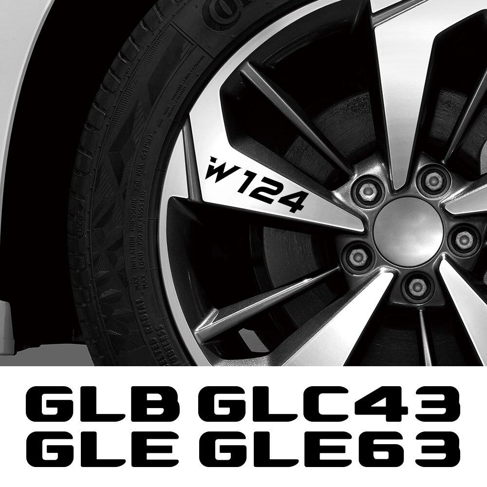 4 adet araba jant çıkartmaları Mercedes Benz için W124 G63 G350d G500 GLA GLA43 GLB GLC GLC43 GLE GLE63 GLK GLS GLS63 ML aksesuarları