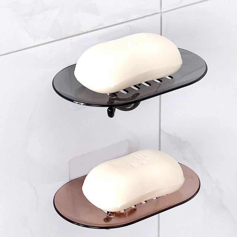 Punch-free Soap Case Soap Dishes Drain Holder Soap Box Tray Bathroom Accessories Wall Mounted Hanging Storage Rack Shelf