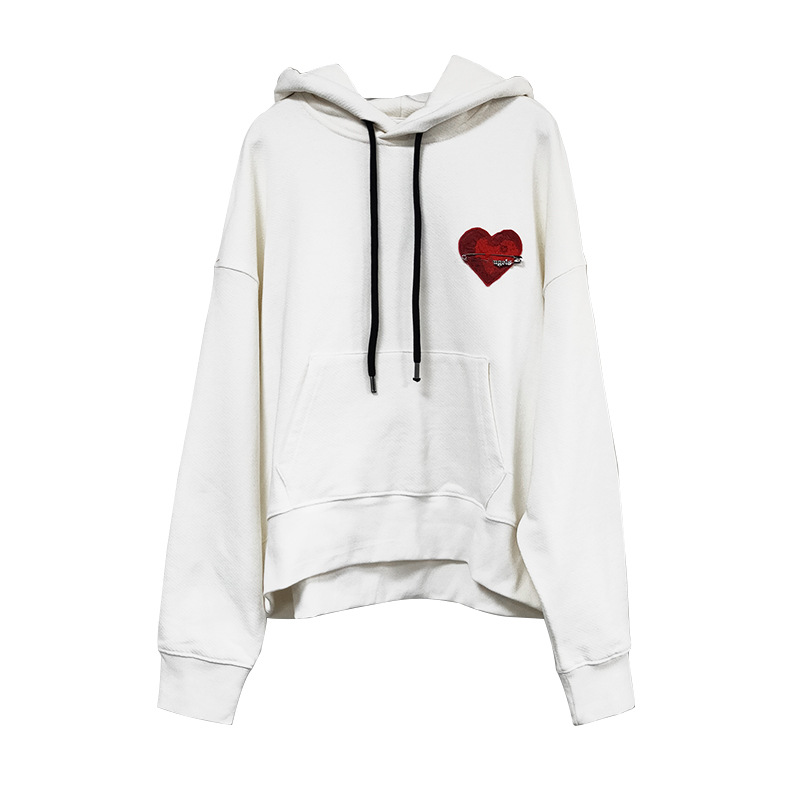 Women Hoodies  New Love Embroidery Leisure Hooded And Loose  Hoodies