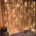 JUSOCCO 3X3M 2x2M Weihnachten Vorhang Lichter Girlanden LED String Weihnachten Net Lichter Fee Xmas Party Garten Hochzeit dekoration