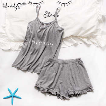 Loose sleepwear Letter Printing Pajamas Sets 2019 Summer Women Cotton Pajama Set Sleeveless Top With Shorts pajamas for women - DISCOUNT ITEM  45% OFF All Category