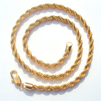 xuping high quality Rope Chain 6mm 14 k Yellow Fine Solid Gold GF Thick Twisted Braided Mens Hip Hop 24 Inch Necklace