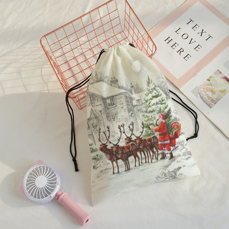 The Gift Pocket Merry Christmas Printing Bag Christmas Present Drawstring Bags Women Multi-style Travel Backpack