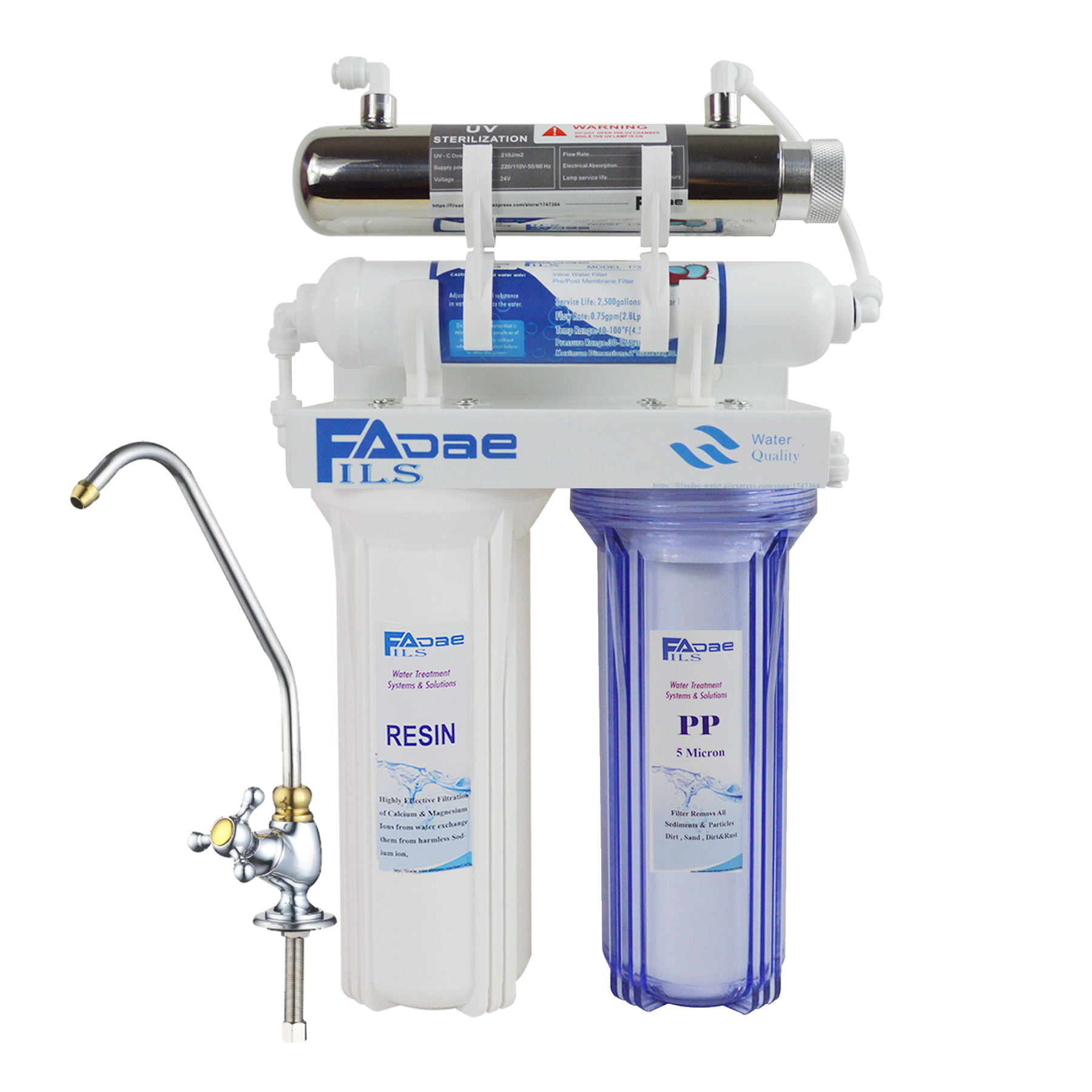 High Quality! 4-Stage Undersink Softener Drinking Water Filtration System With Ultraviolet Sterilizer -Kitchen Use