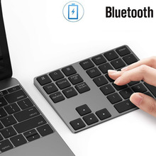 цена на Aluminum Alloy Keyboard 34 Keys Bluetooth Wireless Numeric Keypad USB Charging Keyboard For Windows,Mac OS,Android Laptop PC