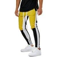 WENYUJH 2019 Autumn Men's Hip Bandage Casual Elastic Waist Joggers Pants StreetwearVintage Color Block Patchwork Sweatpants
