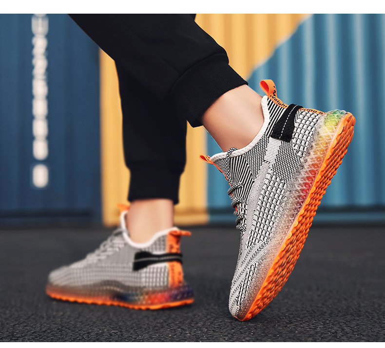 Hfc31f0fa5031497aa54a8f42cac4fcce4 Rainbow bottom coconut shoes flying woven running shoes