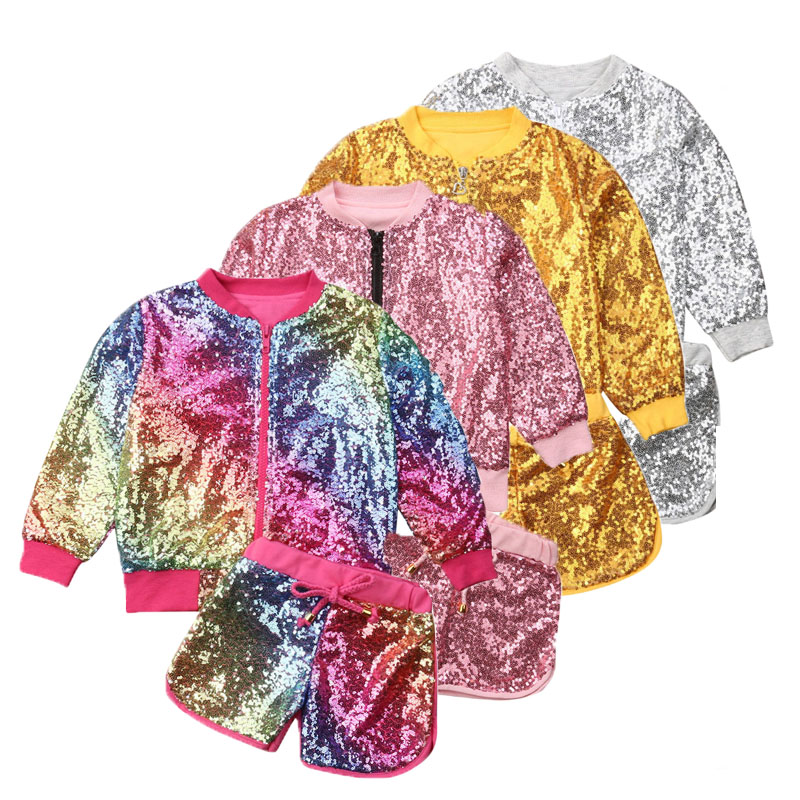 Fashion Girls Sequins 2Pcs Set Clothes Toddler Kids Zipper Slim Jacket Tops+Lace Up Shorts Children Gorgeous Outfits 1-6T