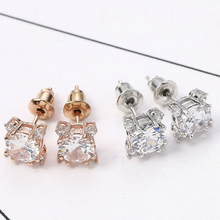 Vintage Earrings Rose Gold Crystal CZ Bling Stud for Women Girls Christmas Gfit Fashion Wedding Jewelry Big Stone New