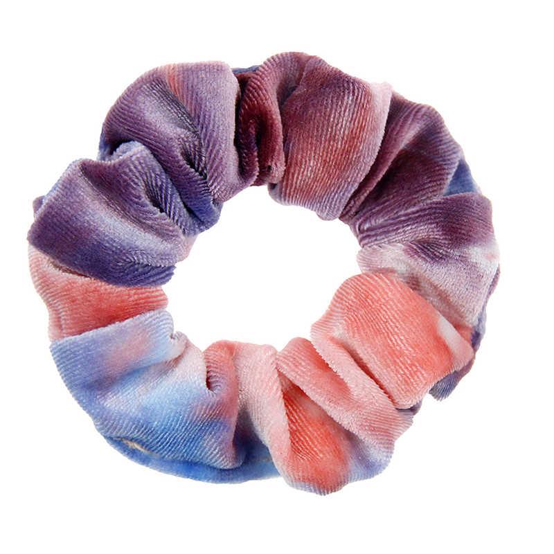 1 PC Tie ย้อม Scrunchies กำมะหยี่ผมอุปกรณ์เสริมสำหรับผู้หญิงหญิงยืดหยุ่นยางผู้ถือหางม้าผม Tie เชือกผมแหวน