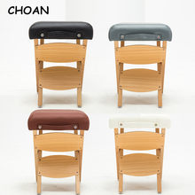 living room bedroom kids furniture small wood leather portable folding pouf foot rest step stool ottoman vanity chair footstool(China)