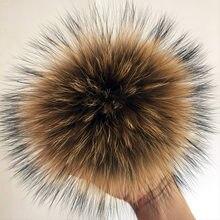 100% natural de pele de raposa pompom de pele de guaxinim pom pom para chapéu beanies diy pompom de pele para bonés sacos cachecol acessórios