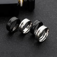 Popular quente simples jóias mão ornamentos 8mm de largura do meio groove fosco anel de aço inoxidável masculino para homens charme jóias masculinas