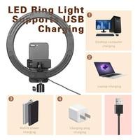 16, 26 см, USB светодиодный светильник, кольцевая фотовспышка с подставкой для штатива 130 см, для макияжа, Youtube, VK, Tik, Tok, видео, светильник с регули... 2