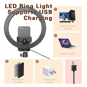 Image 3 - 16 26cm USB LED Ring Light Photography Flash Lamp With 130cm Tripod Stand For Makeup Youtube VK Tik Tok Video Dimmable Lighting
