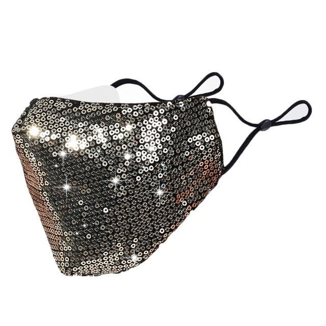 Black Sequins Mouth Mask Anti Dust Mask Windproof Mouth-muffle Bacteria Proof Flu Face Masks Washable Reuse PM2.5 Outdoor Mask 5