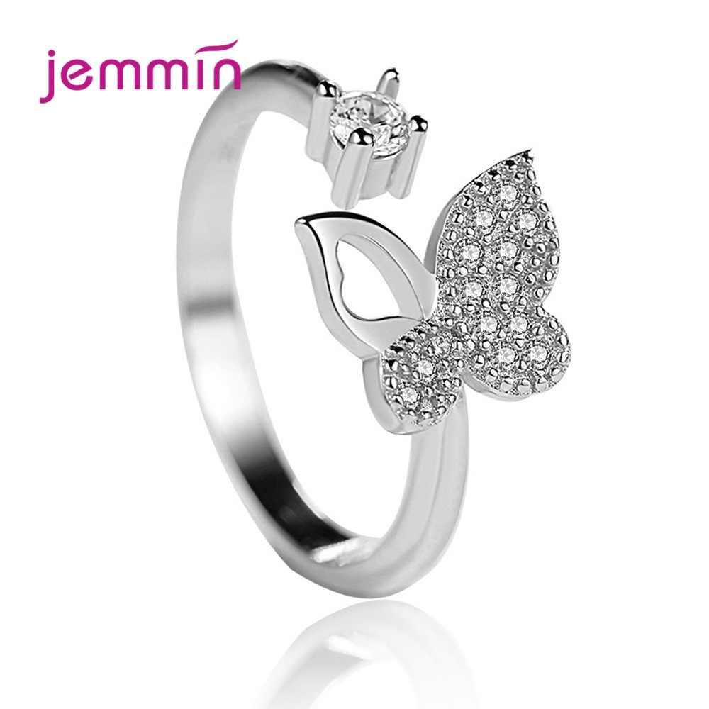 Envío Gratis mantequilla mosca anillos abiertos para dedos 925 anillos de plata esterlina genuino mujeres joyería de moda para fiesta/cita