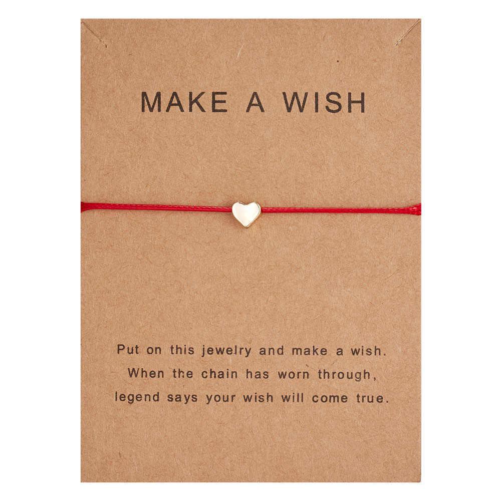願い事紙カード調節可能なロープ赤ストリングカップルブレスレットハート形織ブレスレットシンプルな女性ジュエリーギフト