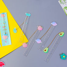 Kawaii Cute Fruit Avocado Bookmark Ruler Planet Pendant Book Markers For Kids Gifts School Office Stationery Supplies(China)