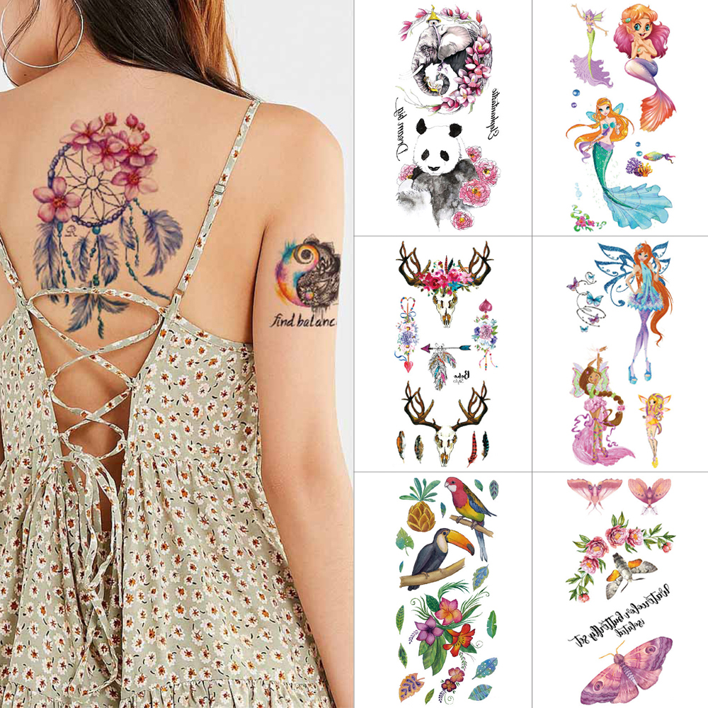 Flower Butterfly Temporary Tattoo Stickers Mermaid Princess 3D Stickers Tattoos Flower Fairy Panda Waterproof Tattoo Women Kids