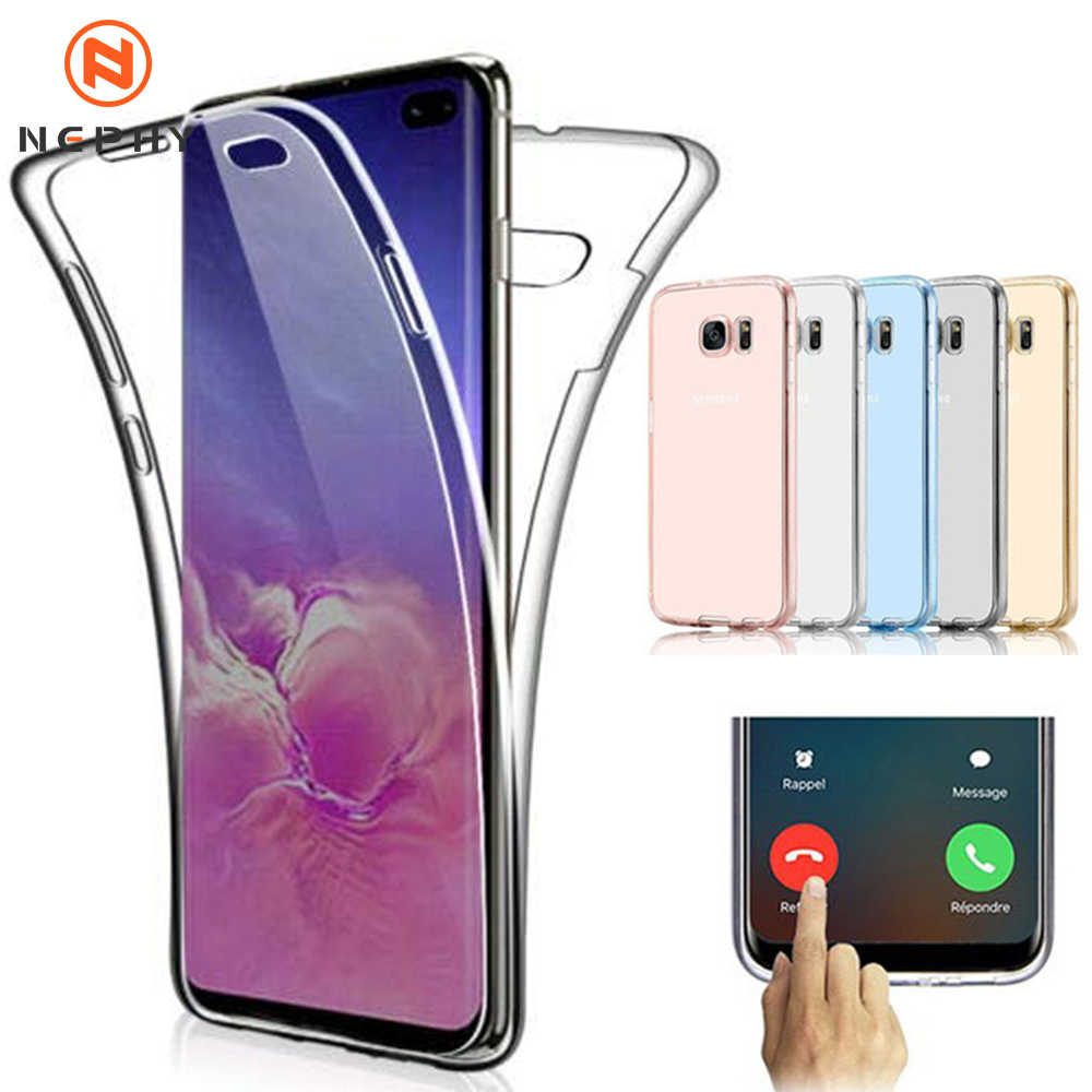 360 Bening Case untuk Samsung Galaxy S6 S7 Edge S8 S9 S10 Plus Note 4 5 8 9 10 pro Lembut Silicone Mobile Phone Cover Coque