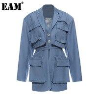 EAM-chaqueta holgada de manga larga con solapa nueva para mujer, Blazer femenino de color azul con bolsillos y abertura, a la moda, para primavera y otoño, 2021, 1T661