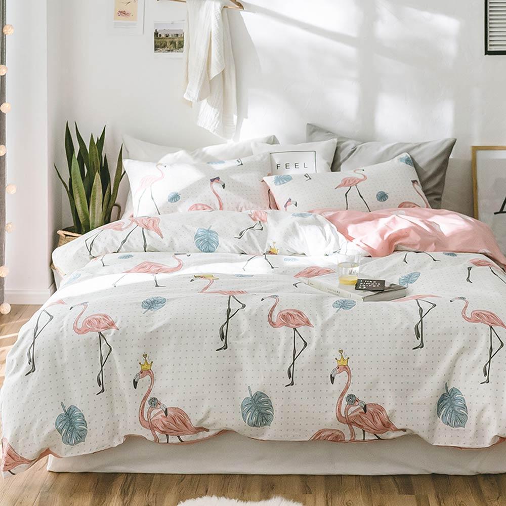Svetanya Flamingo Print Sheet Pillowcase Duvet Cover Sets 100 Cotton Bedlinen