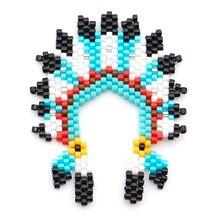 Shinus 5Pcs/lot Miyuki Indian Hat Tribe Pendants Handmade Accessories Delica Mexico Bileklik Beads Wholesale Chic