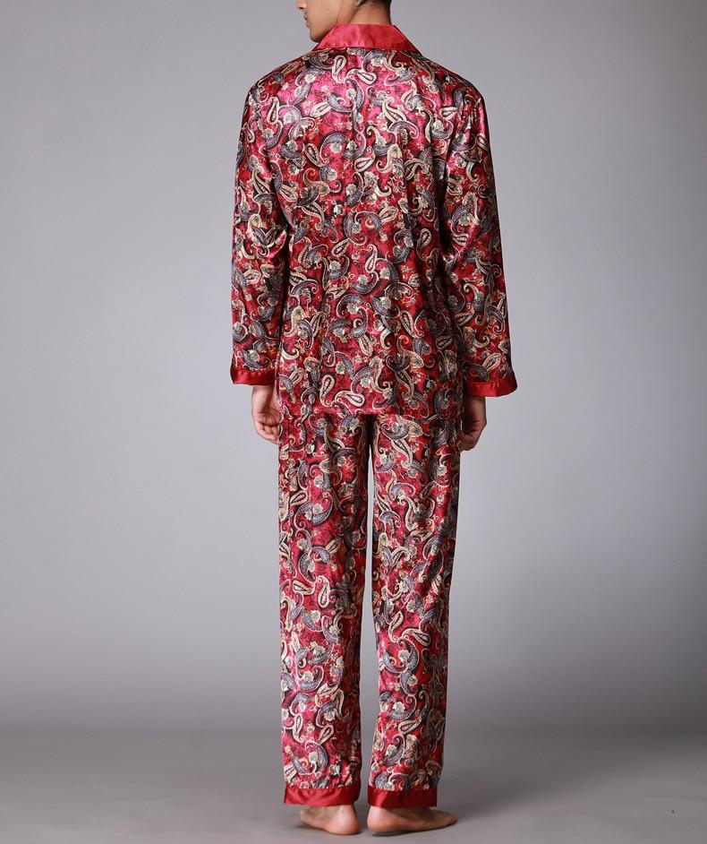 Sleepwear Men Pajamas Men's Sets Satin Silk пижама Pyjama Suits Casual Sleepwear Home Wear Long Sleeve Shirt+Pants Pyjamas Men