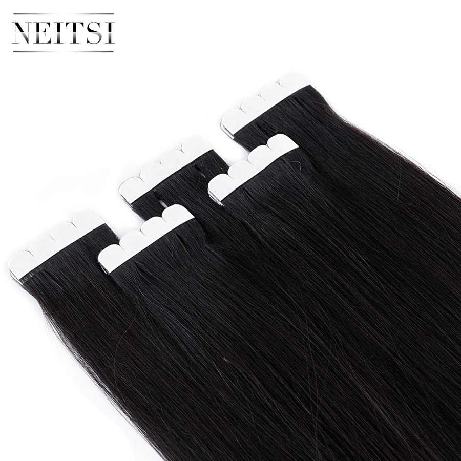 """Neitsi Mini Tape In Non-Remy Human Hair Adhesive Extension 12"""" 16"""" 20"""" 10/20/40pcs 13 Colors Straight Skin Weft Natural Hair"""