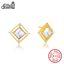Effie Queen Real S925 Stud Earrings Marble AAAA Zircon Square For Women Jewelry Gift BE177