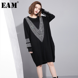 [EAM] 2021 Spring Round Neck Long Sleeve Solid Color Black Diamoned Loose Big Size Dress Women Fashion Tide JC33201