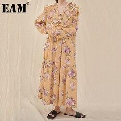 Женское платье с длинным рукавом EAM, длинное платье с принтом и оборками, с треугольным вырезом, свободный крой, весна-лето 2020, 1U761
