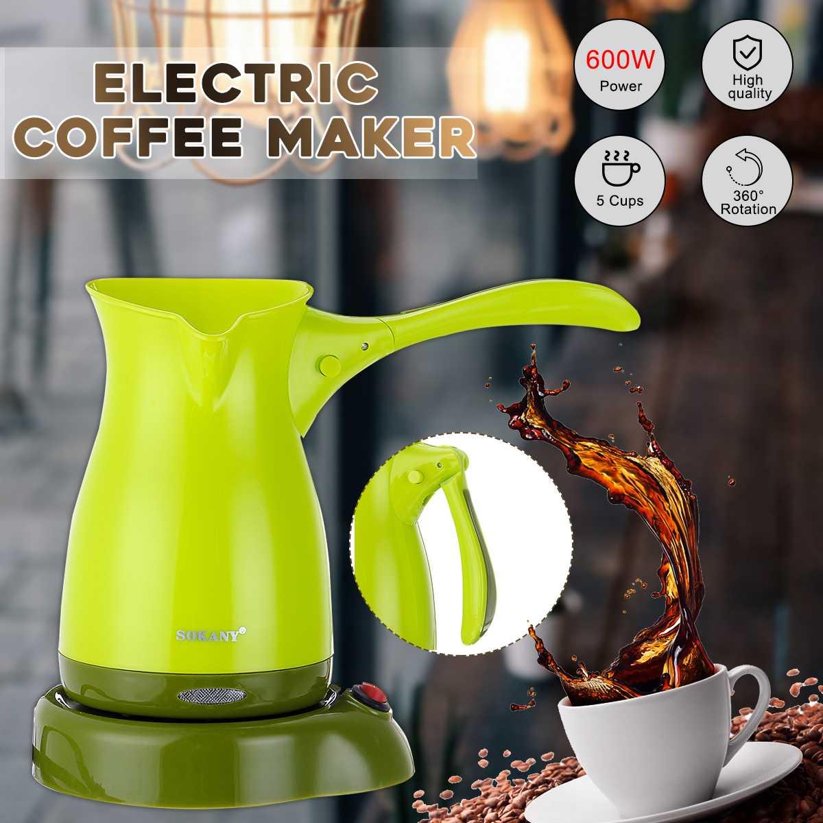 Portable Electric Coffee Maker Espresso Tea Moka Pot 220V Turkish Greek Coffee Machine Anti-slip Base Food Grade ABS Kettle