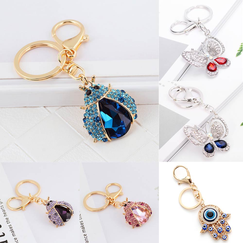 Colorful Rhinestone Glass Keychain Butterfly Palm Pendant 2019 Fashion Luxury Jewelry Accessories Couple Gift