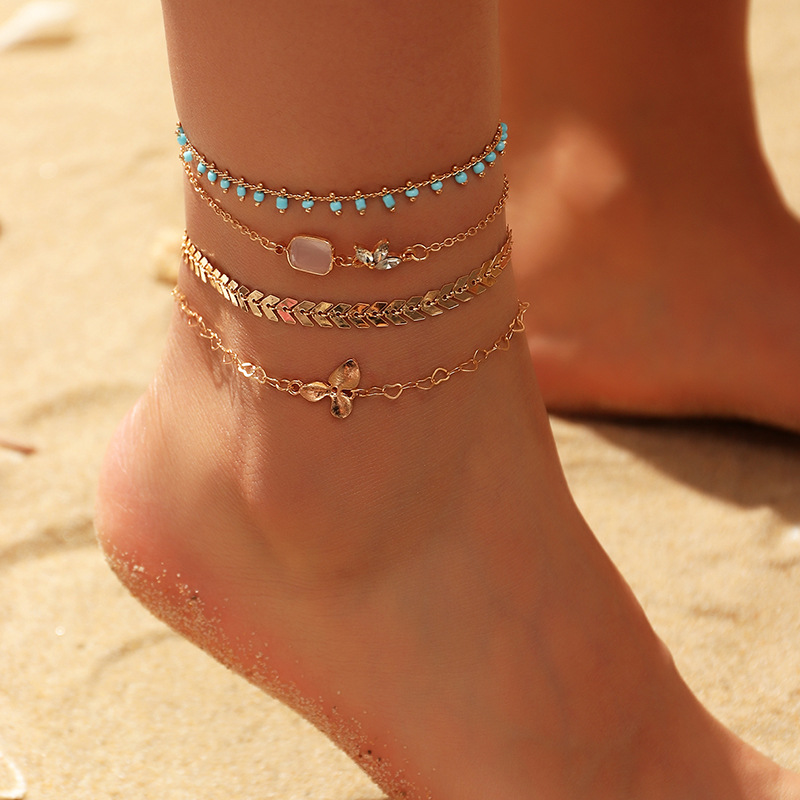 Fashion Bohemian Anklets Bracelet Girls Summer New Alloy Leaves Flower Lovely Beads Tassel Foot Jewelry Anklet Chain For Women