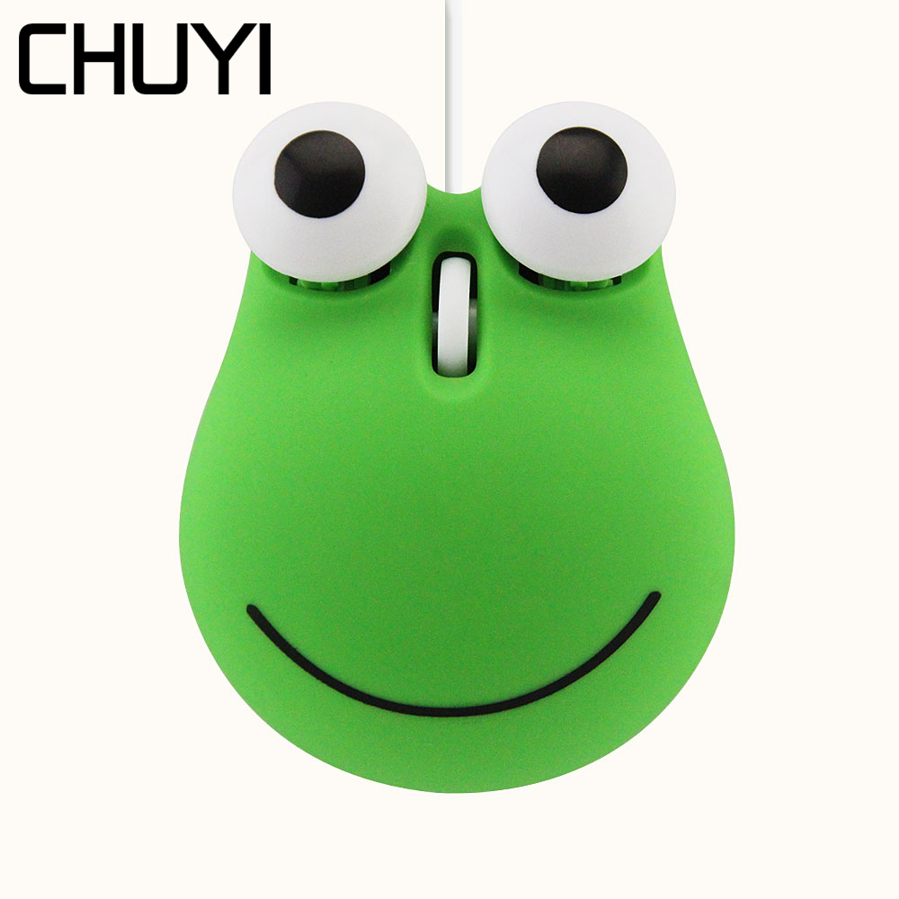 CHUYI Cute Cartoon Jumping Frog Design Mouse USB Wired Optical Computer Mice 1600 DPI 3D Mini Kids Mause With Mouse Pad For Gift