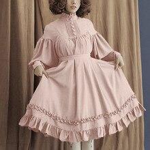JAYCOSIN одноцветное платье в стиле «лолита» Для женщин с длинным рукавом средневековый Ретро Короткие платья просторное с воротником-стойкой Фонари рукав милое платьице
