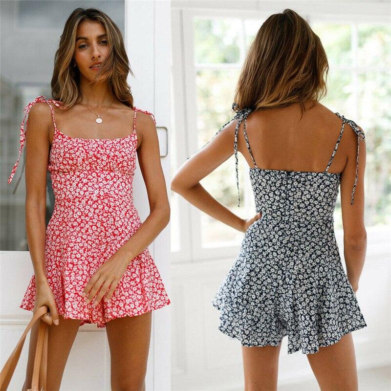 boho   romper   Women beach casual mini playsuits Fashion flower print sleeveless ruffles jumpsuits   romper   shorts outfits sunsuit