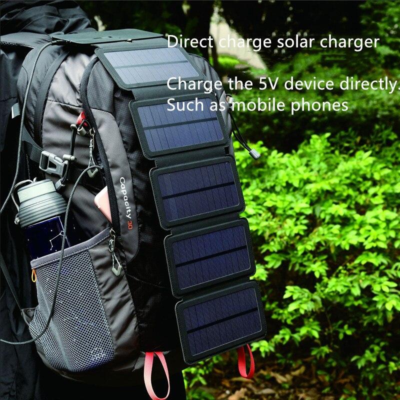 Dobrável 10w células solares carregador 5v 2.1a dispositivos de saída usb painéis portáteis para smartphones aventura ao ar livre