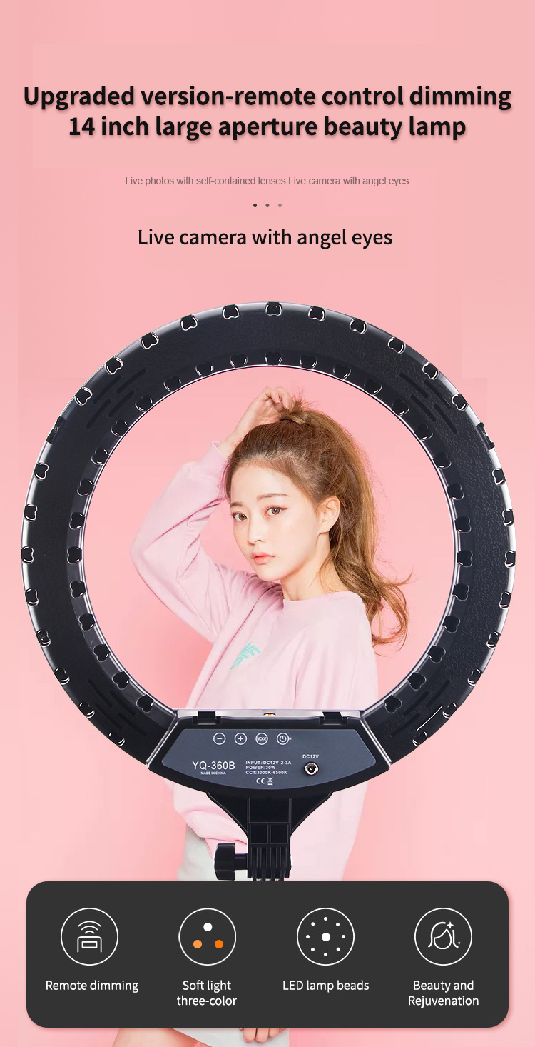 """Hfc33b8552ce246a7b5762374e1f189655 14"""" LED Ring Light Photographic Selfie Ring Lighting with Stand for Smartphone Youtube Makeup Video Studio Tripod Ring Light"""