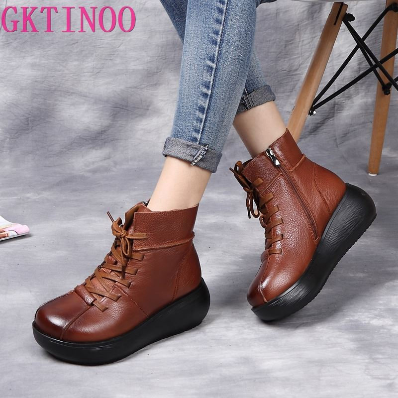 GKTINOO New Genuine Leather Ankle Boots Women Flat Snow Lace-UP Boots Winter Warm Plush Waterproof Woman Platform Shoes