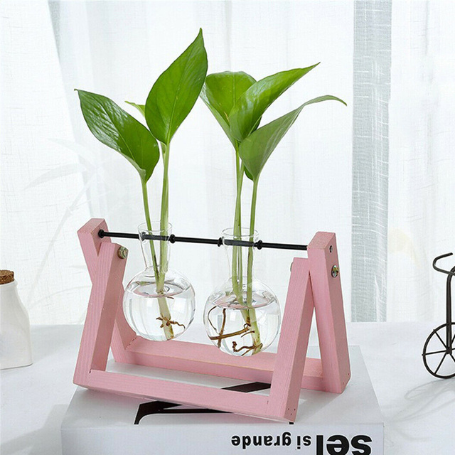 Hydroponic Glass Planter Bulb Vase with Wooden Stand Tray Tabletop Desk Decor Water Planting Propagation Home Decoration BJStore 4